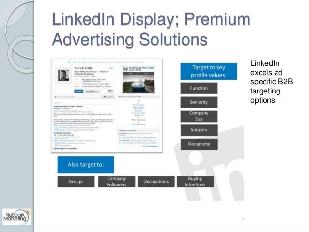 LinkedIn Display; Premium  Advertising Solutions  LinkedIn  excels ad  specific B2B  targeting  options