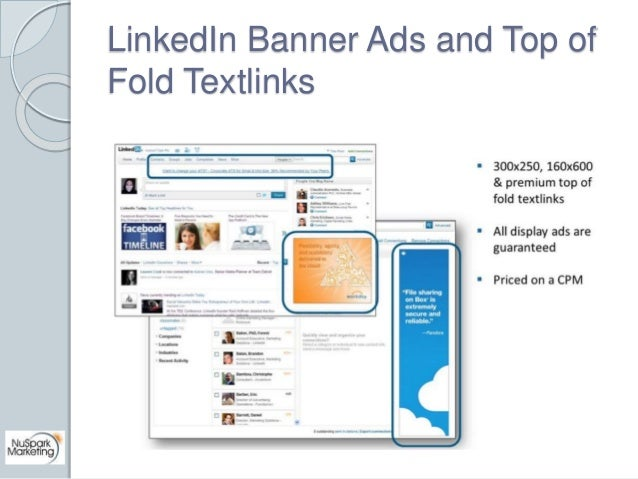 LinkedIn Banner Ads and Top of  Fold Textlinks