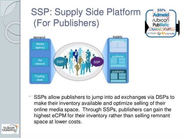 SSP: Supply Side Platform  (For Publishers)  SSPs allow publishers to jump into ad exchanges via DSPs to  make their inven...