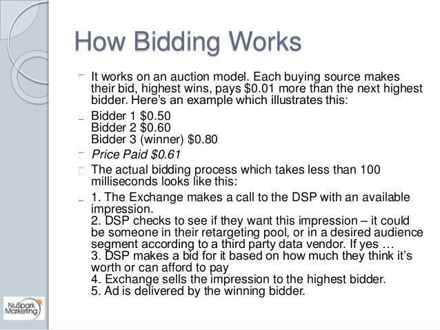 How Bidding Works  It works on an auction model. Each buying source makes  their bid, highest wins, pays $0.01 more than t...