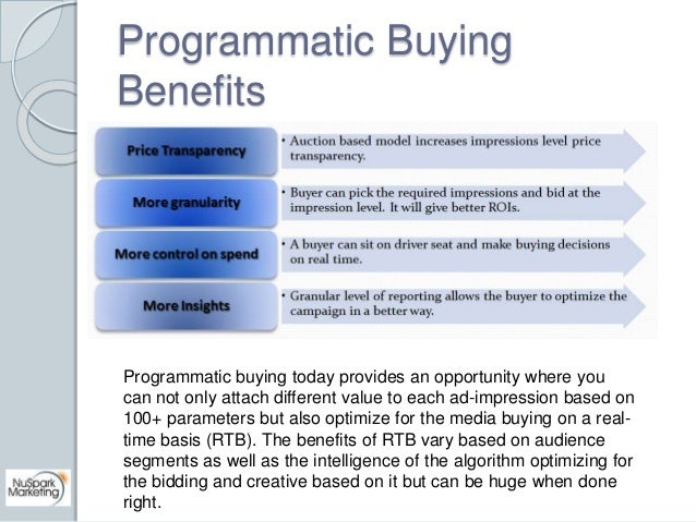 Programmatic Buying  Benefits  Programmatic buying today provides an opportunity where you  can not only attach different ...