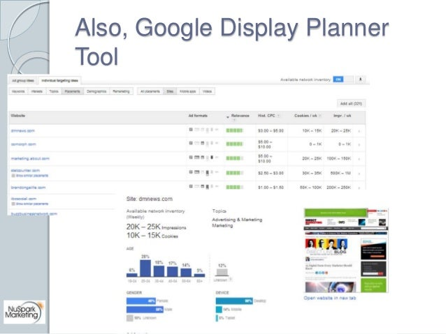 Also, Google Display Planner  Tool
