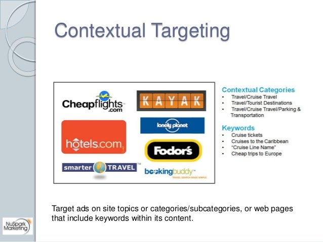 Contextual Targeting  Target ads on site topics or categories/subcategories, or web pages  that include keywords within it...