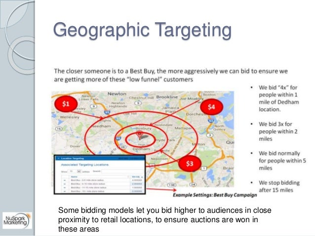 Geographic Targeting  Some bidding models let you bid higher to audiences in close  proximity to retail locations, to ensu...