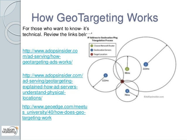 How GeoTargeting Works  For those who want to know- it's  technical. Review the links below!  http://www.adopsinsider.co  ...