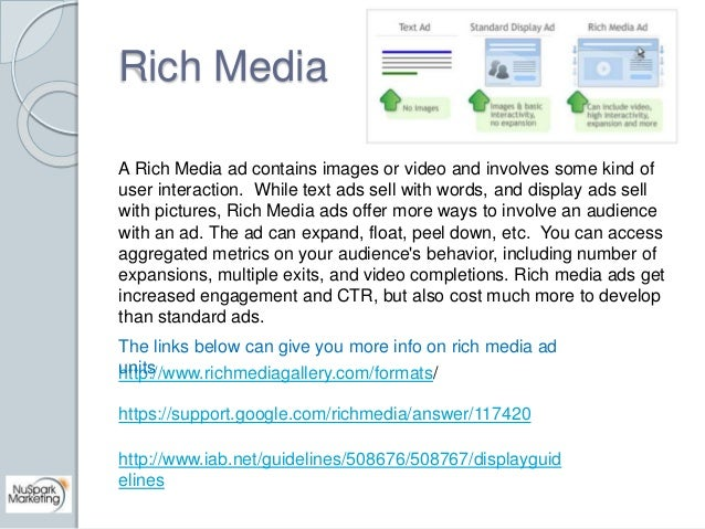 Rich Media  A Rich Media ad contains images or video and involves some kind of  user interaction. While text ads sell with...