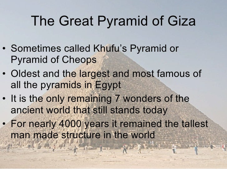 the great pyramids of giza essay The great pyramid was built during the reign of khufu, 2nd king of the fourth dynasty (2,720-2,560 bc) it stands on the giza plateau nearby cairo and is die biggest pyramid in the world it measures 230 m (756 ft) on each side of its base and originally measured 147 m (482 ft) high beginning in .
