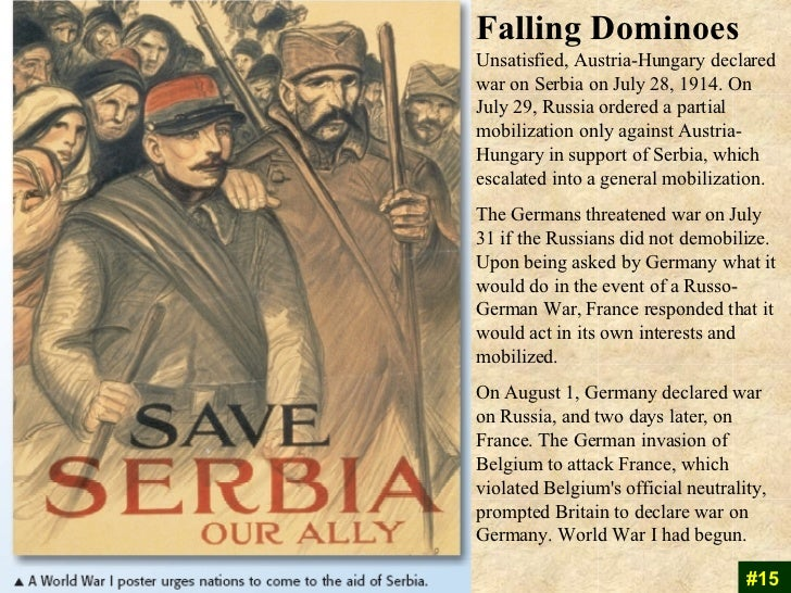 Image result for the outbreak of ww1 in 1914 when austria-hungary declared war on serbia