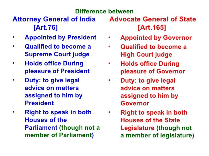 Difference Between Advocate General And Attorney General Of India
