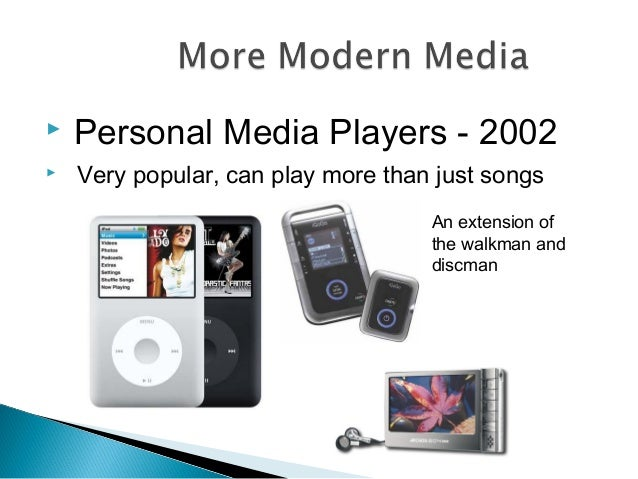  Personal Media Players - 2002  Very popular, can play more than just songs An extension of the walkman and discman