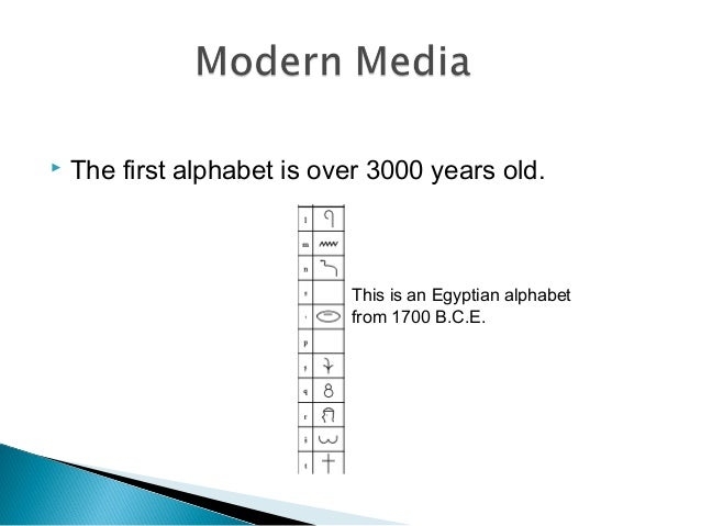  The first alphabet is over 3000 years old. This is an Egyptian alphabet from 1700 B.C.E.