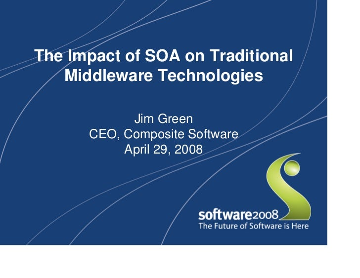 The Impact of SOA on Traditional    Middleware Technologies              Jim Green       CEO, Composite Software          ...