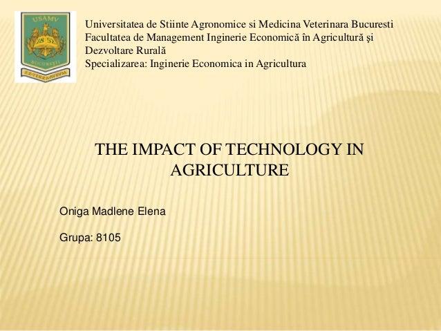 Universitatea de Stiinte Agronomice si Medicina Veterinara Bucuresti Facultatea de Management Inginerie Economică în Agric...