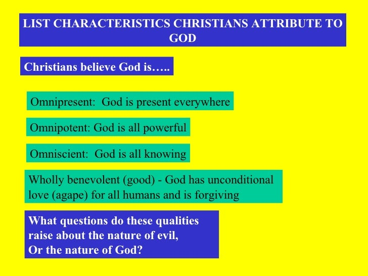 LIST CHARACTERISTICS CHRISTIANS ATTRIBUTE TO GOD Christians believe God is….. Omnipresent:  God is present everywhere Omni...