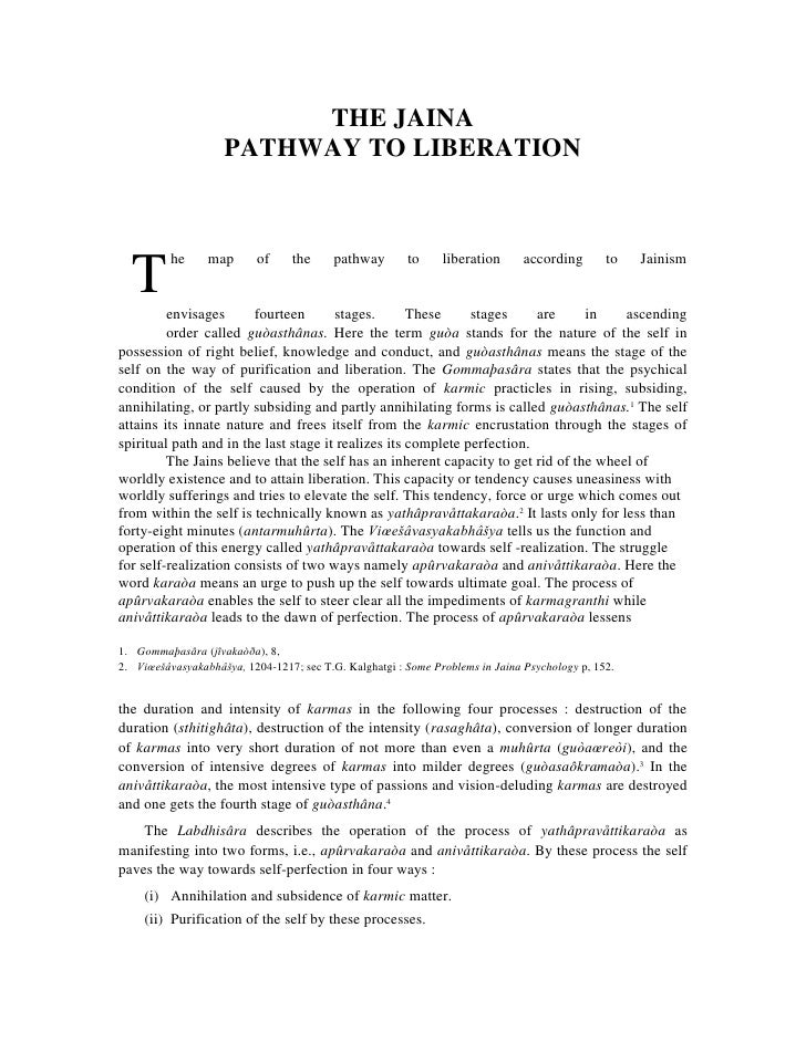THE JAINA                    PATHWAY TO LIBERATION          he     map       of     the     pathway       to     liberatio...