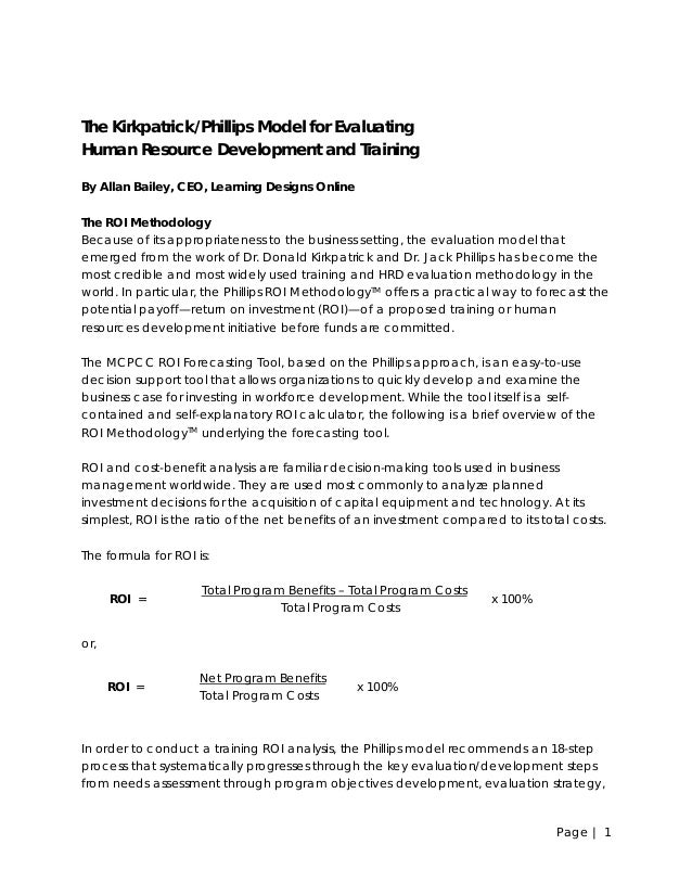 The Kirkpatrick/Phillips Model for Evaluating Human Resource Development and Training By Allan Bailey, CEO, Learning Desig...
