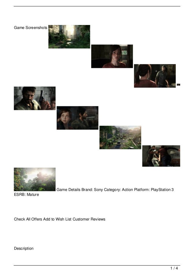 Game Screenshots                       Game Details Brand: Sony Category: Action Platform: PlayStation 3ESRB: MatureCheck ...