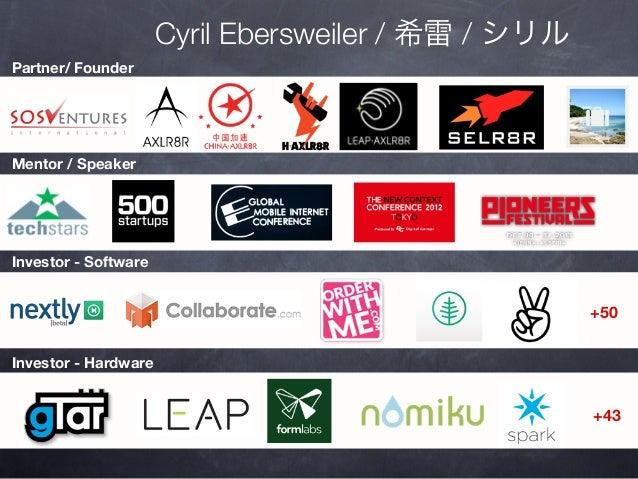 Cyril Ebersweiler / 希雷 / シリル Partner/ Founder  Mentor / Speaker  Investor - Software  +50 Investor - Hardware  +43