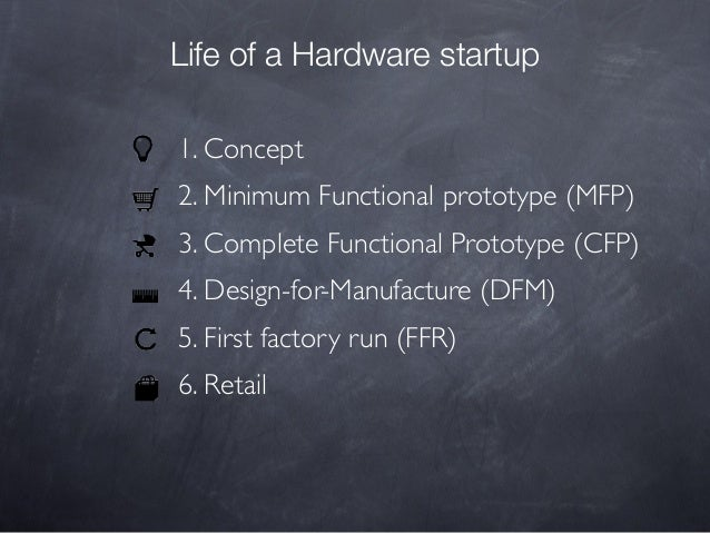 Life of a Hardware startup 1. Concept 2. Minimum Functional prototype (MFP) 3. Complete Functional Prototype (CFP) 4. Desi...
