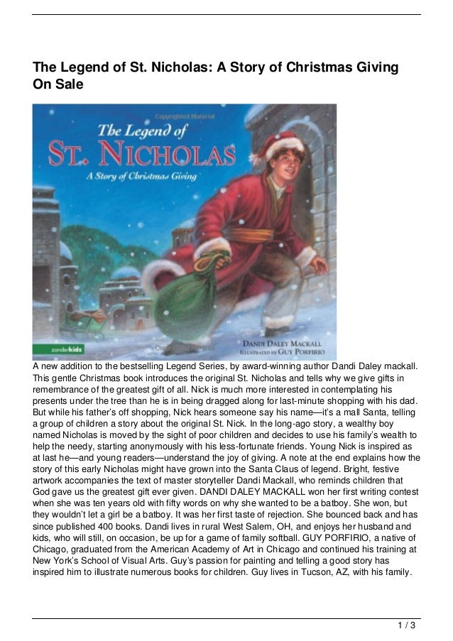 The Legend of St. Nicholas: A Story of Christmas Giving On Sale