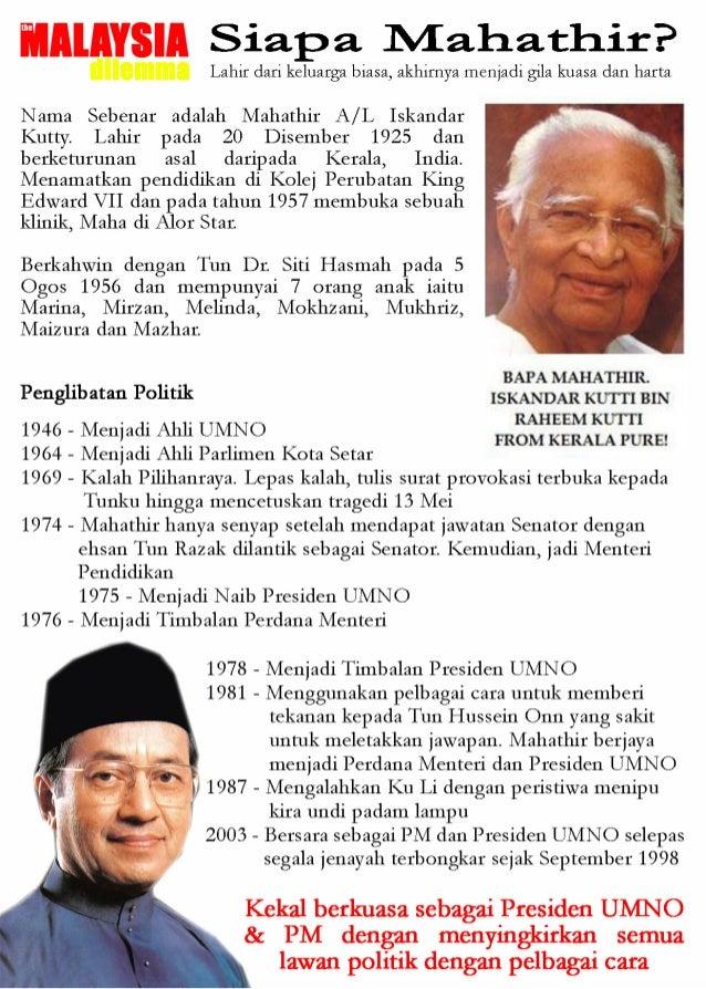WAJAH SEBENAR TUN MAHATHIR (THE MALAYSIAN DILEMMA) Slide 2