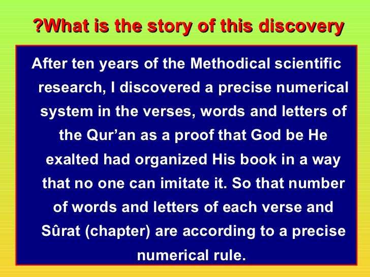?What is the story of this discoveryAfter ten years of the Methodical scientificresearch, I discovered a precise numerical...