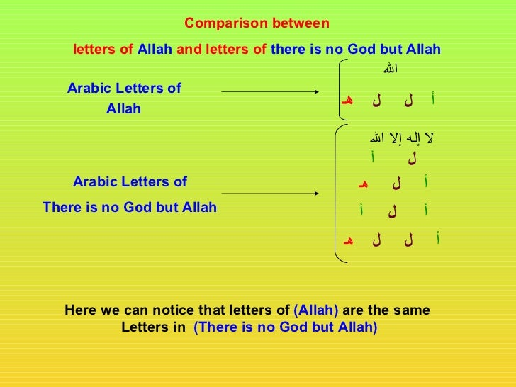 Comparison between    letters of Allah and letters of there is no God but Allah                                           ...