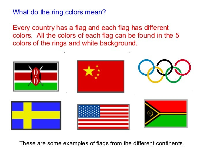 Americas Europe Asia Oceania Africa What do the ring colors mean? Every  country has a flag and each flag has ...