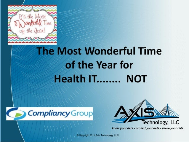 The Most Wonderful Time of the Year for Health IT........ NOT  know your data • protect your data • share your data © Copy...