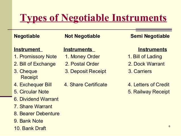 the negotiable