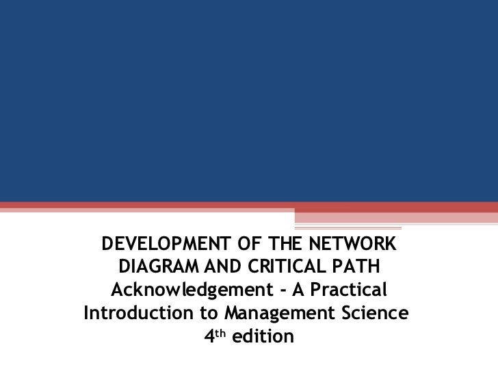 DEVELOPMENT OF THE NETWORK DIAGRAM AND CRITICAL PATH Acknowledgement - A Practical Introduction to Management Science  4 t...