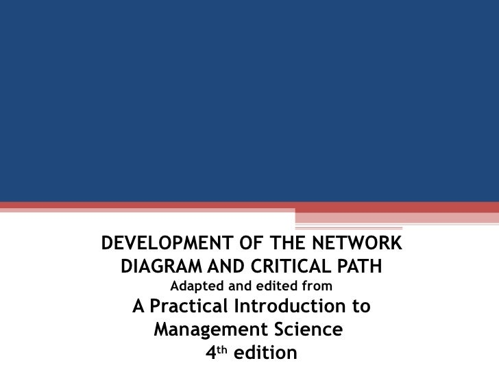 DEVELOPMENT OF THE NETWORK DIAGRAM AND CRITICAL PATH Adapted and edited from A Practical Introduction to Management Scienc...