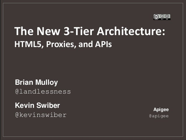 The New 3-Tier Architecture:HTML5, Proxies, and APIsBrian Mulloy@landlessnessKevin Swiber                Apigee@kevinswibe...