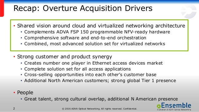 © 2016 ADVA Optical Networking. All rights reserved. Confidential.2 Recap: Overture Acquisition Drivers • Shared vision ar...