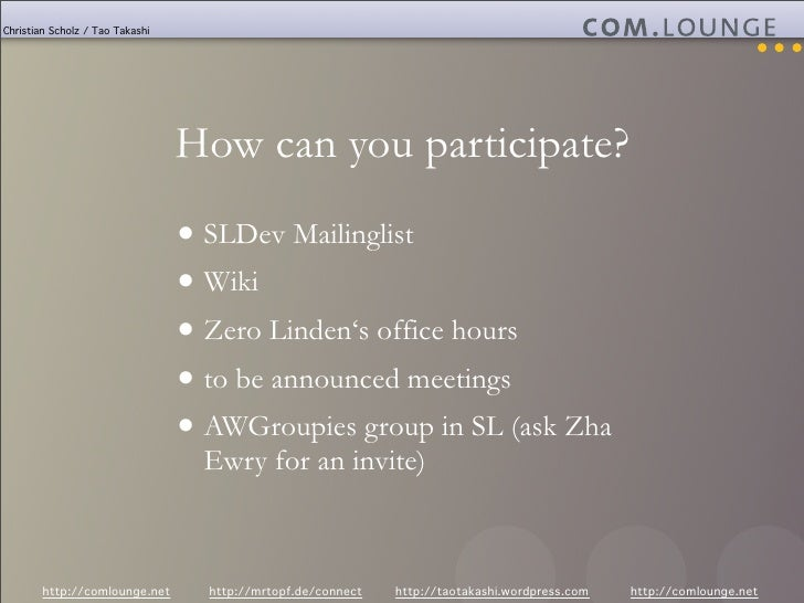 Christian Scholz / Tao Takashi                                      How can you participate?                              ...
