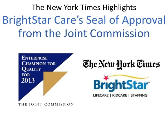 The New York Times Highlights  BrightStar Care's Seal of Approval from the Joint Commission