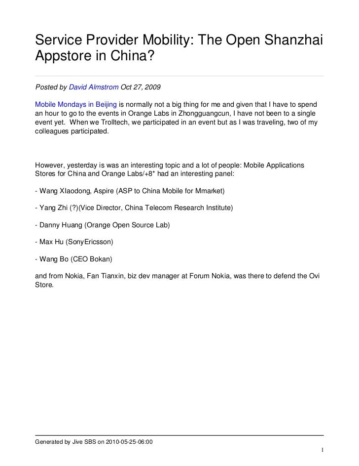 Service Provider Mobility: The Open Shanzhai Appstore in China?  Posted by David Almstrom Oct 27, 2009  Mobile Mondays in ...