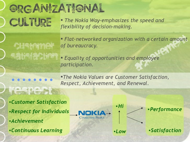 organisation culture and values in nokia Company core values: why to have them and how to define in the modern business era, we constantly hear the terms core values, mission statements and culture and we have integrated them in the business language i say if someone is unhappy with the core values an organization is set.