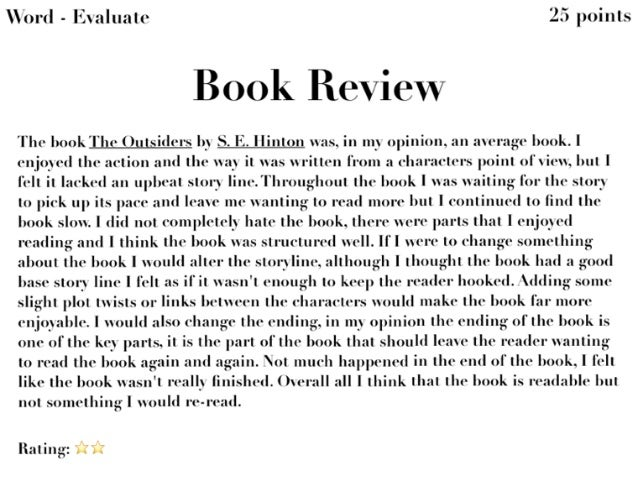 The outsiders book report summary