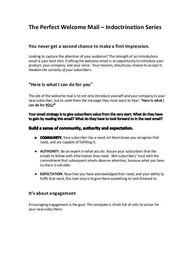 Indoctrination Email  Marketing Campaign SAMPLE. The Perfect Welcome Mail U2013  Indoctrination Series You Never Get A Second Chance To Make A ...