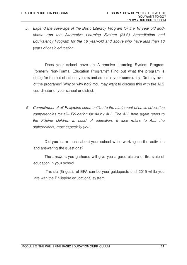 philippine basic education curriculum The department of education  it is the main agency tasked to manage and govern the philippine system of basic education  undersecretary for curriculum and.