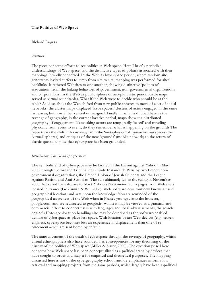 The Politics of Web Space   Richard Rogers   Abstract  The piece concerns efforts to see politics in Web space. Here I bri...