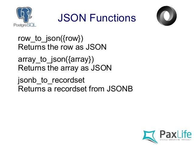The PostgreSQL JSON Feature Tour
