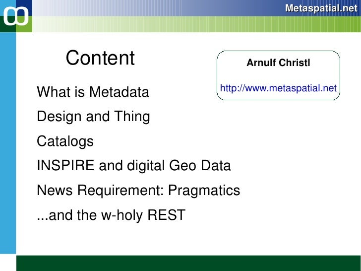 Content <ul><li>What is Metadata