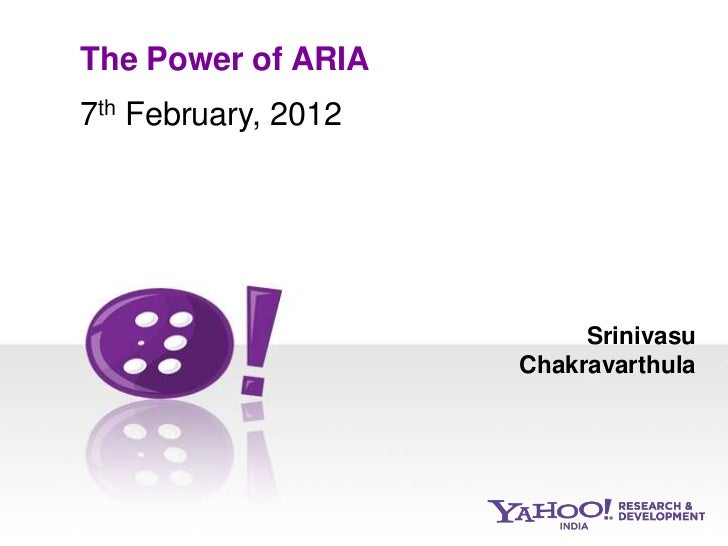 The Power of ARIA7th February, 2012                     f                              Srinivasu                         C...