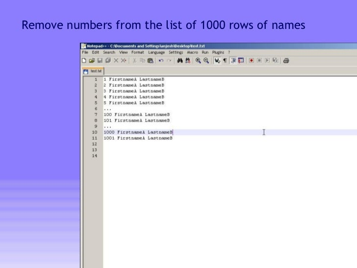 Remove numbers from the list of 1000 rows of names