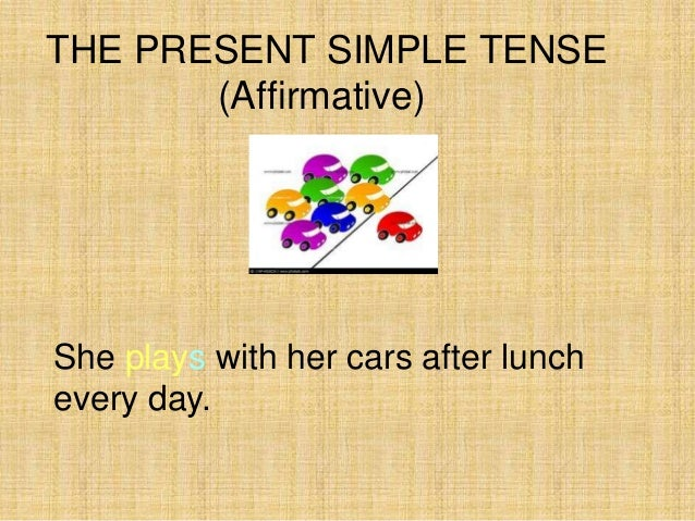 THE PRESENT SIMPLE TENSE       (Affirmative)She plays with her cars after lunchevery day.