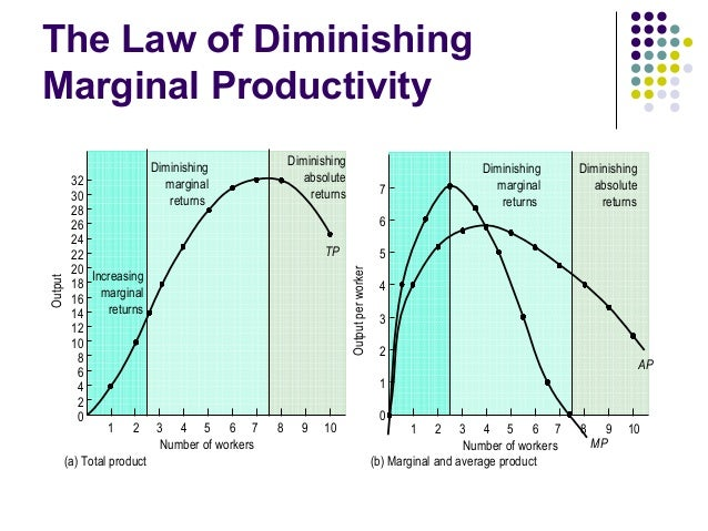 the law of diminishing marginal productivity Advertisements: law of diminishing returns explains that when more and more units of a variable input are employed on a given quantity of fixed inputs, the total.