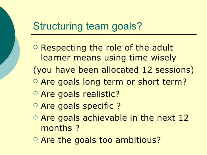 benchmarks and goal setting for the adult learner