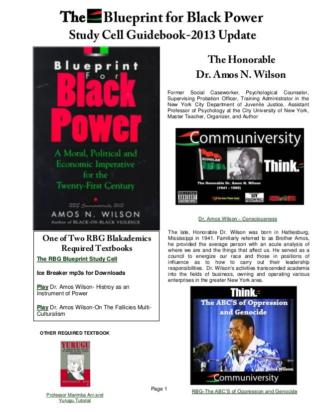 The rbg blueprint for black power study cell guidebook may 2013 update page 1the honorabledr amos n wilsonformer social caseworker psychological counselorsupervising probation malvernweather Gallery